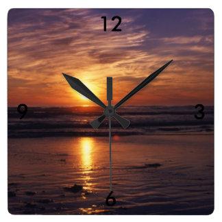 Relógio Quadrado Por do sol do oceano
