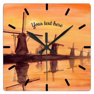 Relógio Quadrado Por do sol dos moinhos de vento - pintura da