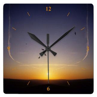 Relógio Quadrado Por do sol sobre Sussex