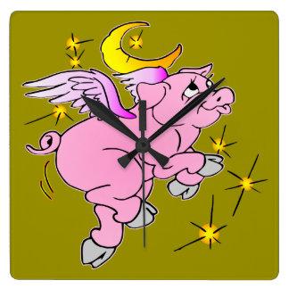 Relógio Quadrado Porco cor-de-rosa #003 do vôo