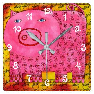 Relógio Quadrado Porco modelado