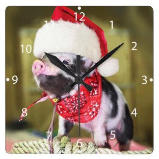 Relógio Quadrado Porco Papai Noel - porco do Natal - leitão