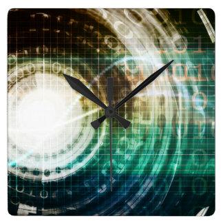 Relógio Quadrado Portal futurista da tecnologia com Digitas