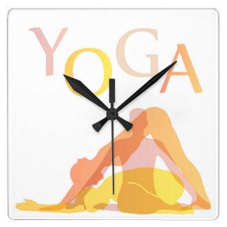 Relógio Quadrado Poses da ioga