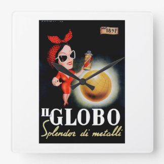 Relógio Quadrado Poster 1949 italiano da propaganda do IL Globo
