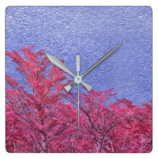 Relógio Quadrado Poster do tema da paisagem da fantasia