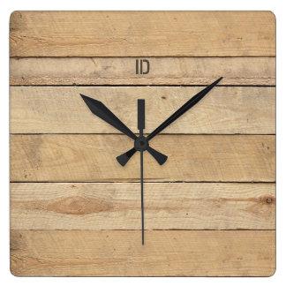 Relógio Quadrado pranchas de madeira