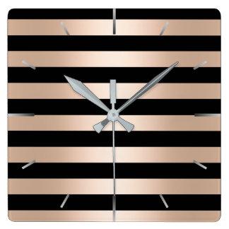 Relógio Quadrado Preto cor-de-rosa do ouro do pintinho moderno