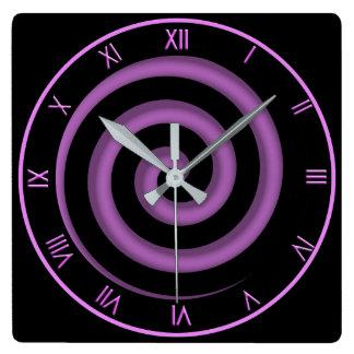 Relógio Quadrado Preto da zona e pulso de disparo de parede espiral