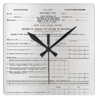 Relógio Quadrado Preto das cinzas de prata de formulário de imposto