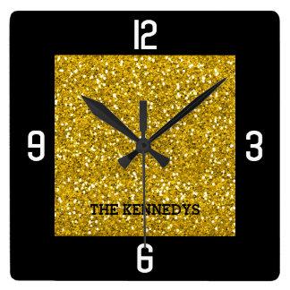 Relógio Quadrado Preto e nome de família Bling do brilho do ouro