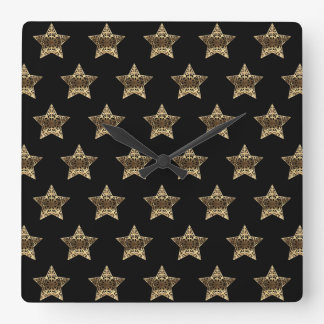 Relógio Quadrado Preto e teste padrão de estrelas do olhar do ouro