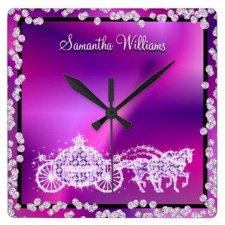Relógio Quadrado Princesa roxa chamativo Treinamento & cavalos