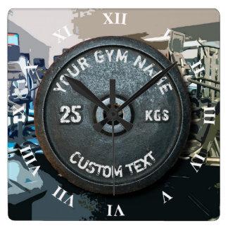 Relógio Quadrado Proprietário ou usuário do Gym do vintage com a