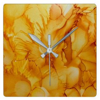 Relógio Quadrado pulso de disparo amarelo dourado abstrato