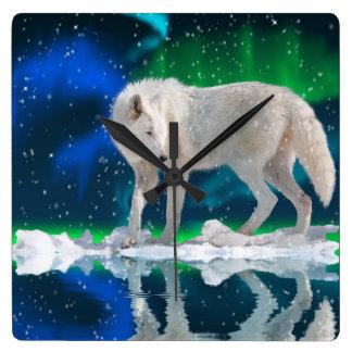 Relógio Quadrado Pulso de disparo ártico da arte dos animais