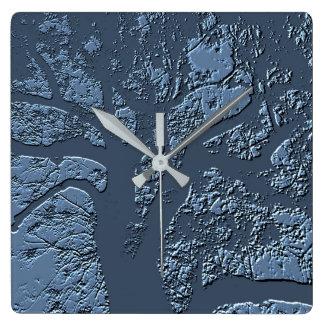 Relógio Quadrado Pulso de disparo azul da árvore