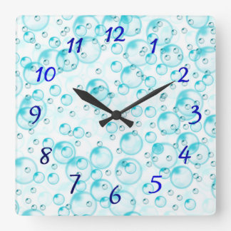 Relógio Quadrado pulso de disparo azul dos blubbles