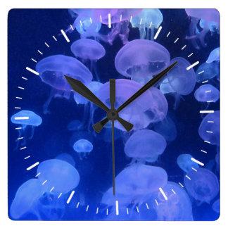 Relógio Quadrado Pulso de disparo com a foto das medusa do aquário