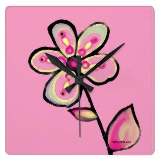 Relógio Quadrado Pulso de disparo cor-de-rosa da flor