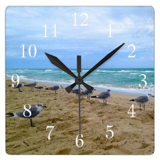 Relógio Quadrado Pulso de disparo da praia da gaivota