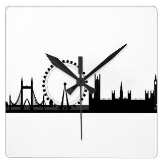 Relógio Quadrado Pulso de disparo de Londres do preto & do branco