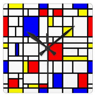 Relógio Quadrado Pulso de disparo de parede azul amarelo vermelho