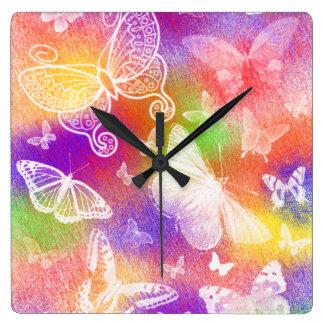 Relógio Quadrado Pulso de disparo de parede bonito das borboletas