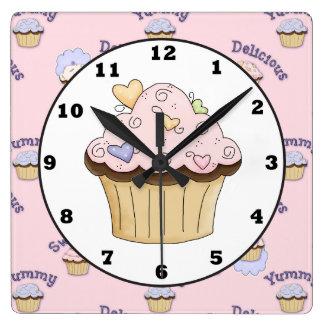Relógio Quadrado Pulso de disparo de parede cor-de-rosa delicioso