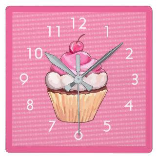 Relógio Quadrado Pulso de disparo de parede cor-de-rosa macio
