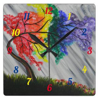 Relógio Quadrado Pulso de disparo de parede da árvore do arco-íris