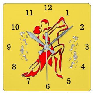 Relógio Quadrado Pulso de disparo de parede da dança de salão de