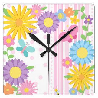 Relógio Quadrado Pulso de disparo de parede da flor