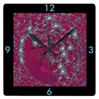 Relógio Quadrado Pulso de disparo de parede da senhora Pérola -