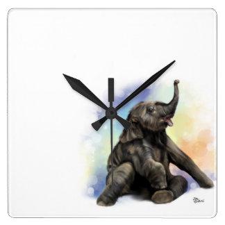 Relógio Quadrado Pulso de disparo de parede de assento do elefante