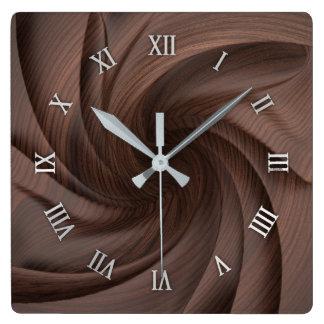 Relógio Quadrado Pulso de disparo de parede de madeira escuro do