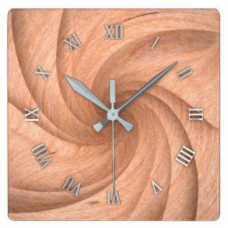 Relógio Quadrado Pulso de disparo de parede de madeira liso do