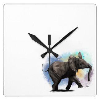Relógio Quadrado Pulso de disparo de parede de passeio do elefante