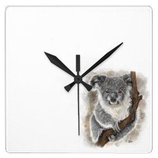 Relógio Quadrado Pulso de disparo de parede do Koala do bebê