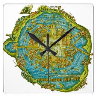 Relógio Quadrado Pulso de disparo de parede do mapa de Tenochtitlan