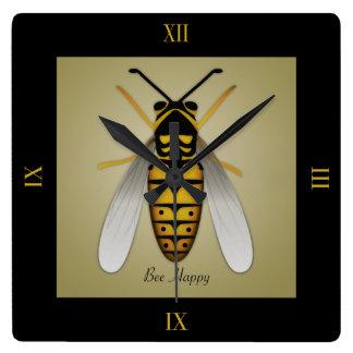 Relógio Quadrado Pulso de disparo de parede feliz da abelha