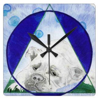 Relógio Quadrado Pulso de disparo de parede geométrico do buldogue