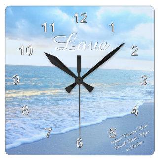 Relógio Quadrado Pulso de disparo de parede lindo do amor da praia