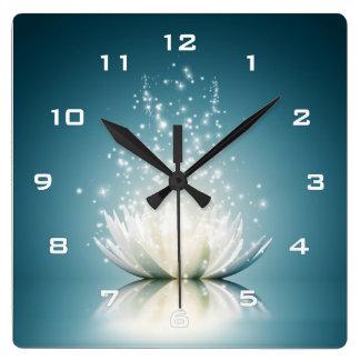 Relógio Quadrado Pulso de disparo de parede mágico branco de Lotus