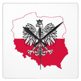 Relógio Quadrado Pulso de disparo de parede polonês da bandeira do