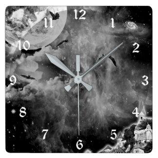 Relógio Quadrado Pulso de disparo de parede preto da arte da