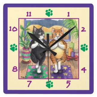 Relógio Quadrado Pulso de disparo de parede quadrado dos gatos da