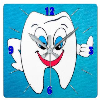 Relógio Quadrado Pulso de disparo do dentista - dente e picaretas