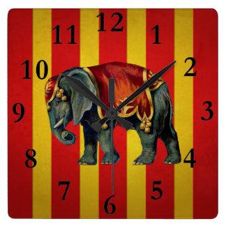 Relógio Quadrado pulso de disparo do elefante do circo do vintag