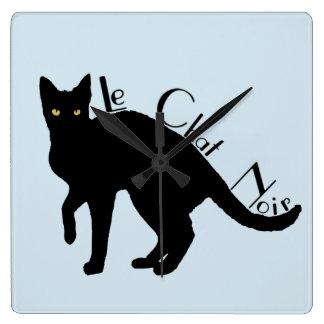 Relógio Quadrado Pulso de disparo do francês do gato preto de Le